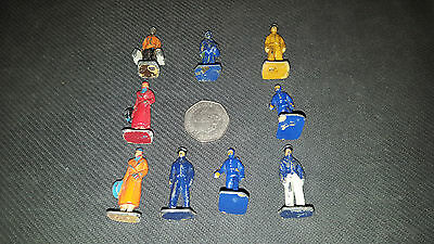 Set of 9 Vintage Meccano Dinky Lead Figures for cars or trains? 50+ years old