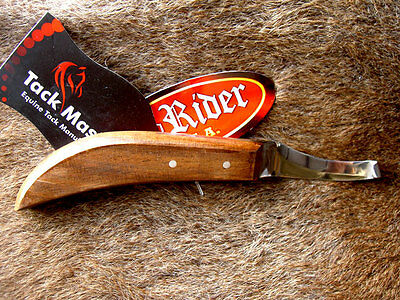 SS Polished Wood Handle Horse Shoe Equine Grooming Tack Hoof Knife 98414