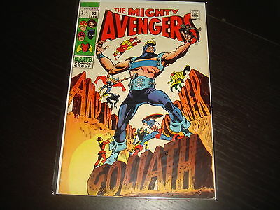 THE AVENGERS #63   Silver Age Marvel Comics 1969 FN