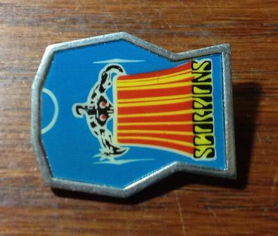 "Vntg Scorpions Blue 1"" square pin badge"