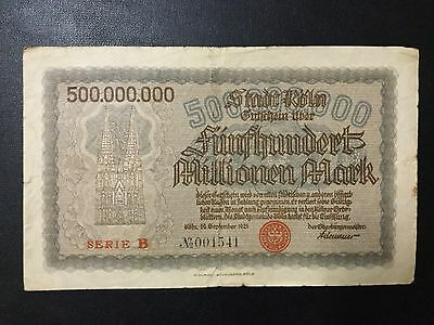 1923 Germany Paper Money - 500,000,000 Mark Banknote !