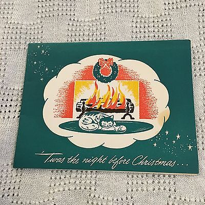 Vintage Greeting Card Night Before Christmas Car Fireplace
