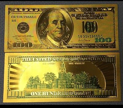 Beautiful .999 24kt Gold W/ Green Details $100 One Hundred $ Banknote W/sleeve