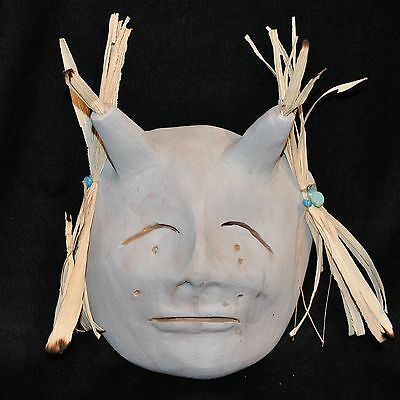 "Micaceous Clay Pottery Mask by Bernadette Track of Taos Pueblo, 9.5"" x 9"""