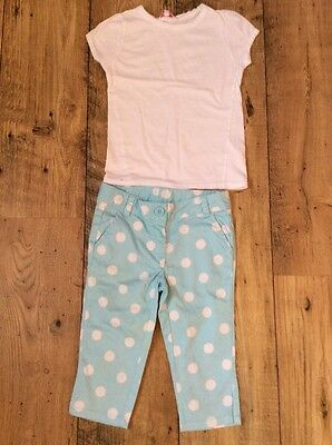 Turquoise Blue Spotty Cropped Trousers NEXT 4 Yrs & White T-shirt 4-5 Yrs
