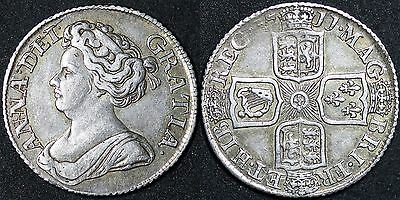 1711 Silver Queen Anne Silver Shilling in around GVF, excellent example