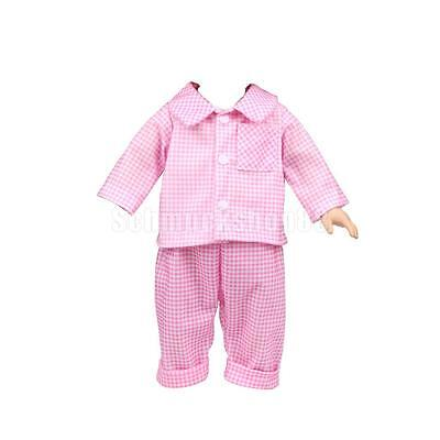 Pink Check Pajamas Nightwear Clothes Set for 18'' American Girl Journey Doll