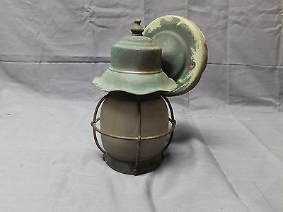 Small Vtg Arts Crafts Copper Porch Light Sconce Light Frosted Glass Old 2316-16