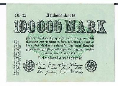 GERMANY BANKNOTE 100000 P91a 1923 aUNC