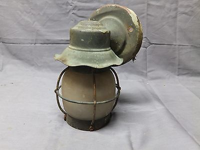 Small Vtg Arts Crafts Copper Porch Light Sconce Light Frosted Glass Old 2317-16