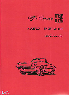 Alfa Romeo 1750 Spider Veloce Instruction Book - 1970 owners handbook *NEW