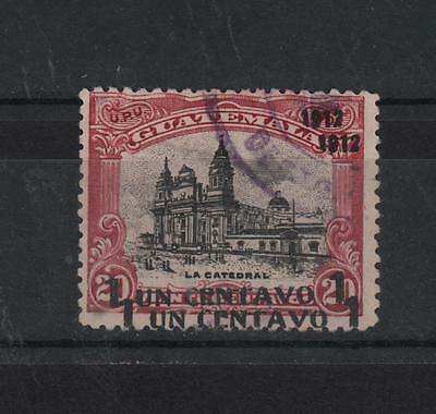 GUATEMALA 1912 THE CATEDRAL DOUBLE SURCHARGED 1CENT OVER 20 ON 1902 FAKE SC#147b