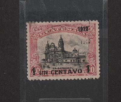 Guatemala 1912 The Catedral Surcharged 1 Cent Over 20 On 1902 Partial Do Sc# 147