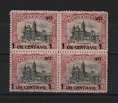 Guatemala 1912 The Catedral Surcharged 1 Cent Over 20 On 1902 Block 4 Sc# 147