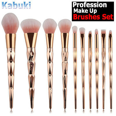 10PCS Kabuki Make up Brushes Set Rose Gold Powder Foundation Contour Makeup Tool