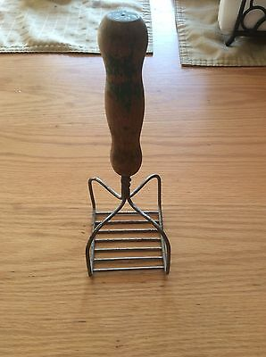 Antique Wood Handle Welded Wire Potato Or Fruit Masher