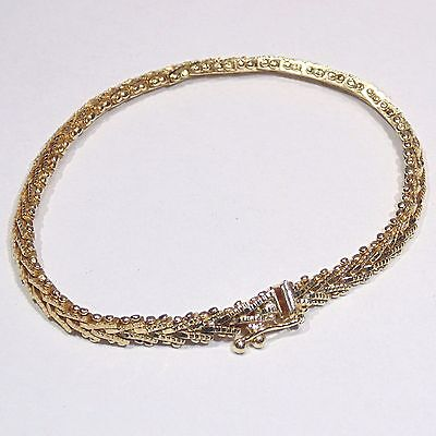 Vintage gold tone herringbone chain bracelet, safety catch, made in Mexico