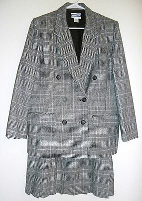 Vintage Pendleton Suit Virgin Wool Black White Plaid Size Jacket 12 Skirt 14