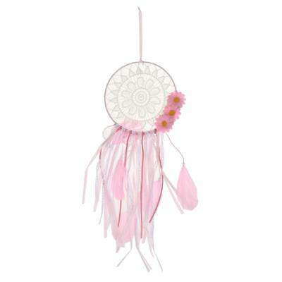 Bohemia Pink Flower Tassel Feather Dream Catcher Home Wall Hanging Decor