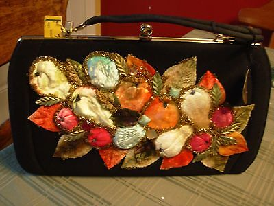 Vintage Mid Century Black fabric purse with appliqued fruit and leaves with tags