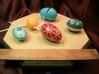 4 Vtg decorated eggs-2 hand blown-1 Kencraft sugar-1 hand painted -free ship