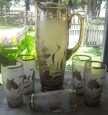 vintage bohemian glass JUG with tumbler glasses
