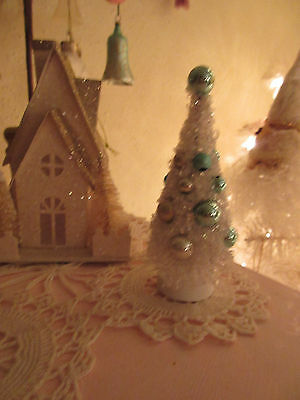 "NEW White Bottle Brush Tree Christmas Display ""Snow Glitter"" w/Tiny Ornaments"