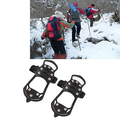 10 Teeth Crampons Outdoor Climbing Skidproof Chain Anti Slipping Shoes Cover GT