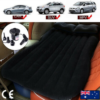 Black Inflatable Car Back Seat Mattress Air Bed Rest Sleeping Camping SUV MPV AU