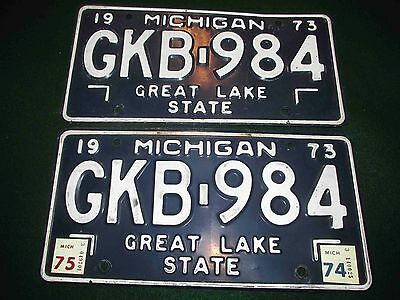 1973-1974-1975 PAIR of Michigan License Plates: #GKB-984