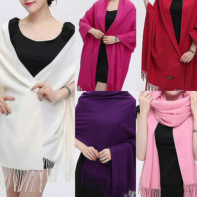 Womens Lady Winter Warm Cashmere Silk Solid Long Pashmina Shawl Wrap Scarf