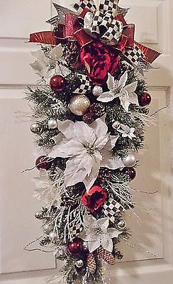 "34"" Snow Flocked Pine Christmas Floral Swag/wreath~Mackenzie Childs Ribbon~Decor"