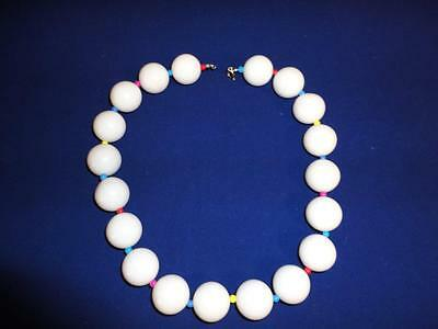 Vintage 80s NEW WAVE Chunky White Beaded CHOKER Necklace