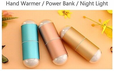 5000mAh USB Charger Power Bank Pocket Hand Warmer Heater Rechargeable Led Light