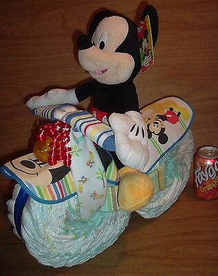 Large Mickey Mouse Motorcycle Diaper Cake Baby Shower Gift Centerpiece