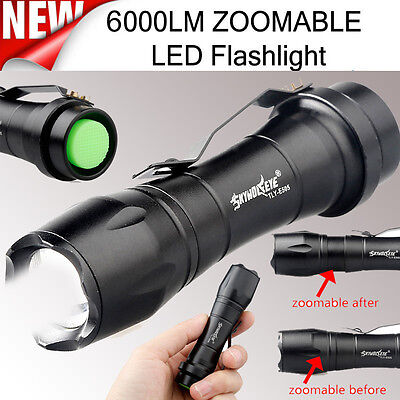 Super Bright 6000LM Flashlight ZOOMABLE CREE AA/14500 3 Mode LED Police Torch UK