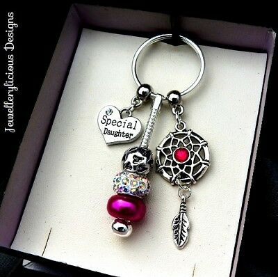 Beautiful Pink SPECIAL DAUGHTER Dream Catcher AB Crystal Keyring Key Ring