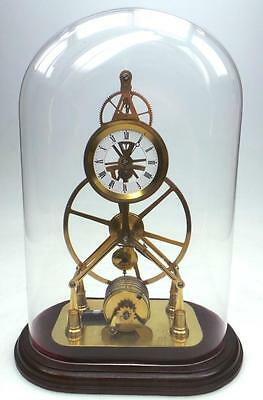 Vintage Single Fusee Skeleton Mantel Clock English 8Day Under Glass Dome 6 Spoke