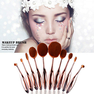 10Pcs Rose Gold Beauty Toothbrush Shaped Oval Cream Puff Makeup Brushes Set Kit