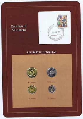 Republic of Honduras 4 pc Mint Set 1978-91 BU Coin Sets of All Nations stamp