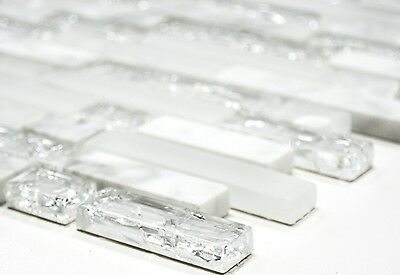 WHITE Clear/Frosted Translucent Mosaic tile Brick GLASS/STONE WALL - 87-v1311_b