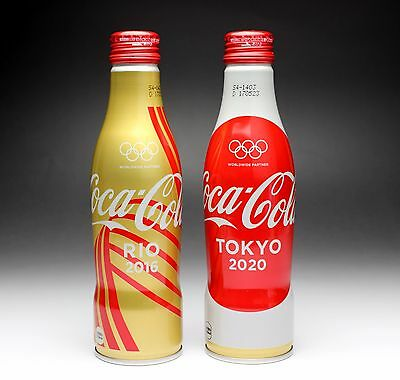 Pair of Olympic Aluminium Bottles 2016 Rio 2020 Tokyo Coke Coca Cola Japan New