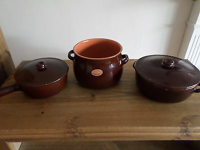 Piral Terracotta Clay 3 Piece Cookware Set Italy Never Used Cooking Baking Chefs