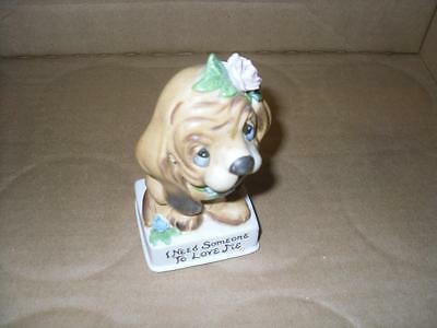 Vintage Porcelain Small Hand Painted Girl Puppy Dog I Need Someone To Love Me