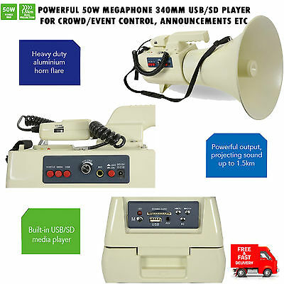Powerful 50W Megaphone 340Mm Usb/sd Player For Crowd Control,announcements Etc