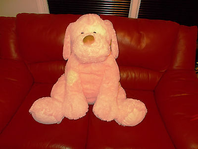 """HUGE Pink Dog Soft Plush Stuffed Animal 25"""" Sitting Appears to be a Gund No Tag"""