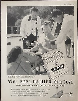 Vintage Uk 1957 Ad(Uk1)~Piccadilly, Britain's Top Level Cigarettes