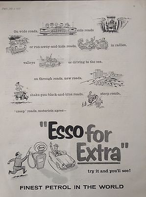 """Vintage Uk 1957 Ad(Uk1)~""""esso"""" The Finast Petrol In The World"""