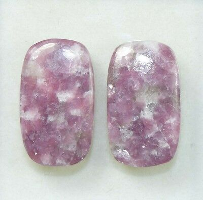 Pair  34.10 Cts. 100 % Natural Lepidolite Untreated Cushion Cab Loose Gemstones
