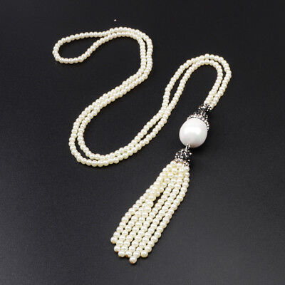 "3Pcs 27"" White Shell Pearl Paved CZ Necklace With Pearl Bead Tassel Chain BJA383"